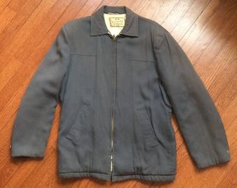1950s Gray Gabardine Zip Jacket Medium
