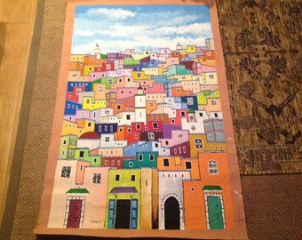 """Original Moroccan Oil on Canvas Art Work Signed  , Moroccan   Town  and Town Houses  with Church , Mosque  Synagogue and temple 56""""x30n"""