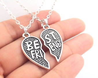 Best Friends Split Heart Necklace Set, Valentine's Day couples jewelry, matching necklaces, best friend necklace, friendship jewelry