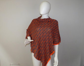 Handmade Knit Fair Isle Poncho -Orange and Blue