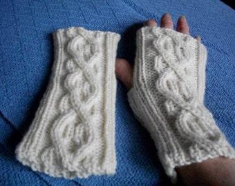 White Wool Fingerless Gloves