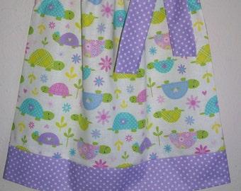 SALE 12m Girls Dress Pillowcase Dress with Turtles Dress with Flowers Purple baby dress toddler dress Summer dress Sundress Kids Clothes