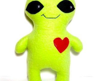 Large alien plush toy stuffed monster alien - child adult stuffed plush monster - green stuffed alien creature - geeky space plush