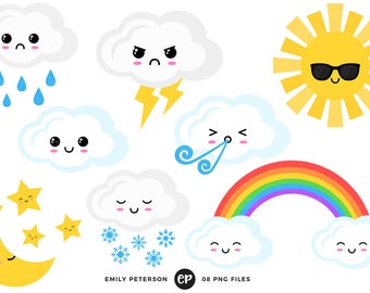 50% OFF SALE! Kawaii Clip Art, Weather Clipart, Rainbow Clip Art - Commercial Use, Instant Download