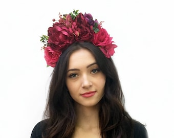 Deep Pink Mexican Flower Crown, Day of the Dead Flower Headpiece, Frida Floral Crown, Bohemian, Flower Headband, Boho, Mexico Wedding, Kahlo