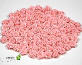 20 skulls with pink satin rose light 2 cm in diameter