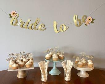 Bride to Be Banner -Boho Bridal Shower Banner - Bridal Shower Banner - Boho Bride - Gold Glitter Bridal Banner - Gold Bridal Banner