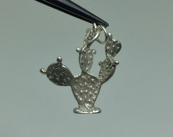 Western Prickly Pear Cactus #5 925 Silver Charm - FREE SHIPPING within the USA - item #m41
