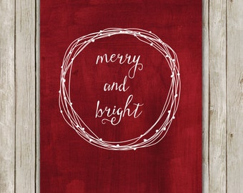8x10 Christmas Printable Decor, Merry and Bright, Typography Print, Digital Red Holiday Decor, Wreath Holiday Wall Art, Instant Download