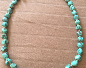 Vintage 41 Stone Turquoise Necklace, silver clasp