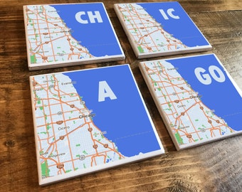 CHICAGO Map Coasters - 4 Styles - Resin Coated