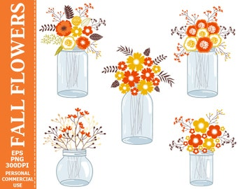 Digital Fall Flowers in Mason Jars Clip Art - Jars, Autumn, Fall, Flowers, Bouquets, Compositions Clip Art.