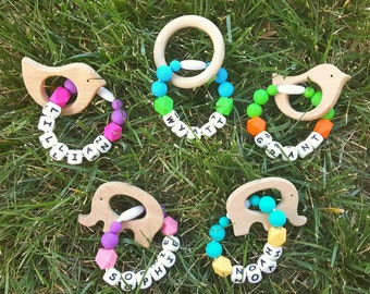 Personalized Teethers - Wood Teethers - Personalized Baby Shower Gift - Customizable Baby Gift - Unique Baby Shower Gift - Unique Baby Gift
