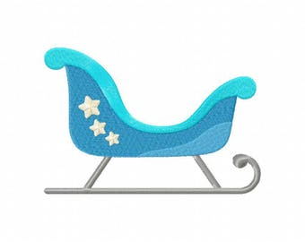 Winter snow sleigh sled machine embroidery design