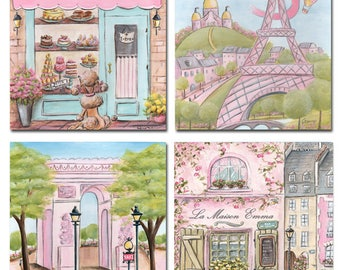 Pink Paris Wall Art For Girls Baby Nursery, Set Of 4, Personalize Artwork For French Parisian Girls Bedroom Decor, Baby Shower Gift, 6 Sizes