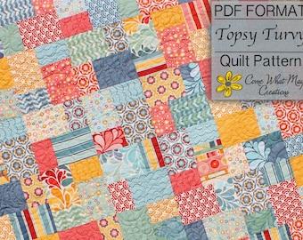 Topsy Turvy Quilt Pattern, Lap Quilt Pattern, Layer Cake Quilt Pattern, Baby Quilt Pattern, Beginner Quilt Pattern, Easy Quilt Pattern, PDF