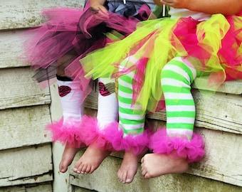 "Strawberry Shortcake Bunny Legs  - girls ruffled tutu leg warmers - perfect for babys 6m to girls 6X approx 12"" long"