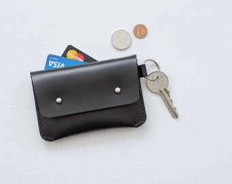 Minimalist black leather key ring cardholder wallet Small handstitched envelope credit card holder Coin purse Woman gift Bridesmaids gift.
