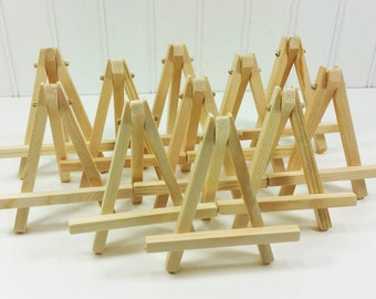 10 Small Wood Easels, Natural Wood Tabletop Easels for Miniature Art Place Cards Table Number