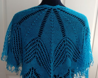 Hand knitted beaded lace shoulder shrug-silk / alpaca mix- understated elegance for everyday wear-