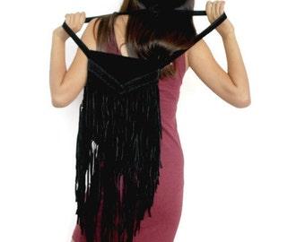 Leather fringe bag in black , Black Boho fringe purse , suede fringe purse , Boho suede fringe bag