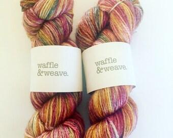 8ply hand dyed DK yarn in Tequila Sunrise colorway / variegated yarn / DK yarn / merino yarn / knitting / crochet / hand dyed yarn / yarn