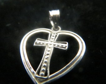 Sterling silver heart with a cross pendant