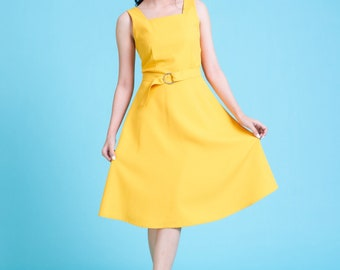 Baverly - Open Back Mustard Dress / Mustard Party Dress / Tea Length Swing Dance Dress Yellow Summer Dress / Wedding Bridesmaid Dress