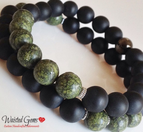 Men's Matte Black Onyx, Russian Serpentine 10mm Bead Bracelet Set, Men Bracelets, Gifts for him, Fathers Day Gifts zmw04402