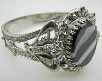 Whiting & Davis Victorian Revival Silver Banded Agate Hinged Bangle. Vintage Scottish Pebble Bracelet. Ornate Filigree Scrollwork.