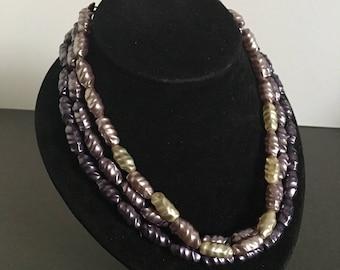 Vintage Purple Lilac Glass Bead Necklace Multi Strand