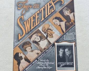 They're All Sweeties Vintage sheet music 1919 sheet music Romantic sheet music Cover art Collectible sheet music