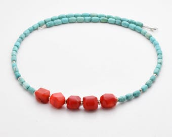 Red Coral and Turquoise Necklace. Turquoise Blue Howlite, with Red Coral Nuggets and Sterling Silver.