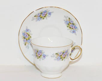 Queen Anne Tea Cup and Saucer Antique Teacups, Bone China Tea Cups  Forget me Nots - 1714