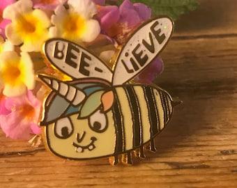 I Want to BEELIEVE Unicorn Bee Hard Enamel Pin - Honey Jar Cute Food Kawaii Pastel Rainbow Goth Ice Cream Alien UFO Believe Bee-lieve Holy