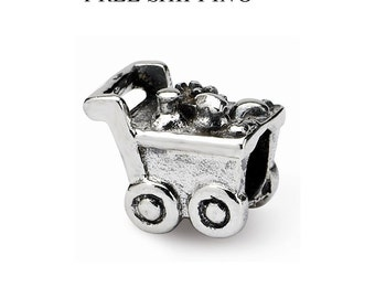 Sterling Silver Kids Shopping Cart Bead