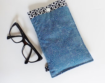 Glasses case in fabric, quilted - petrol /motifs blue polka dot black and white geometric patterns - gift idea