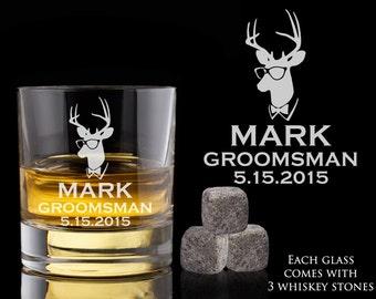 Groomsmen Gift, 6 Personalized Whiskey Glasses, Custom Whiskey Rocks, Whiskey Stones, Wedding Gift, Engagement Gift, Engraved Whiskey Glass