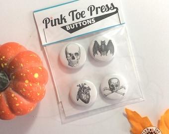 Halloween Pinback Button 4-pack //Spooky Retro Designs