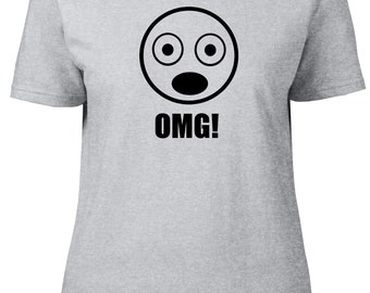 OMG! Smiley. Funny Ladies semi-fitted t-shirt.