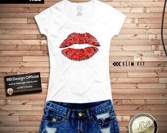 Womens Red Lips Shirt / Roses Lips tshirt / Womens Lips Tshirt / Lips Shirt / Womens Roses T shirt  Ladies Roses Shirt Trendy lips tee MD291