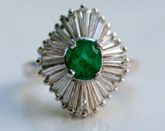 For Becka - Vintage 14k Solid White Gold Diamond Baguettes and Emerald Halo Ballerina Ring, Size 6