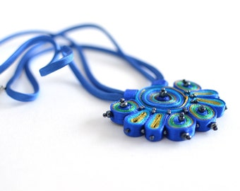 Textile necklace blue green, fabric necklace beaded, statement necklace, fiber pendant blue, gift for her - Textile jewelry ready to ship