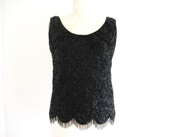 Vintage 1960s Beaded Black Top Shell Size S