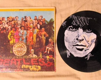 George Harrison The Beatles Portrait on Sgt. Peppers vinyl record