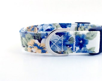 Blue Floral Dog Collar | Dog Collar | Puppy Collar | Girl Dog Collar | Floral Dog Collar | Small Dog Collar | Large Dog Collar | Pet collars