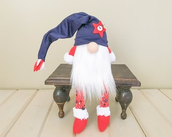 Handmade Red White & Blue Gnome FREE SHIPPING