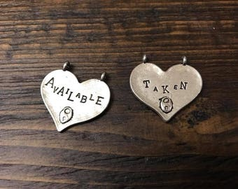 Double Sided Heart Pendant - Tibetan Silver, Valentine's Day, Available, Taken, Double Sided, Key, Love, Anniversary, Metal, For Her