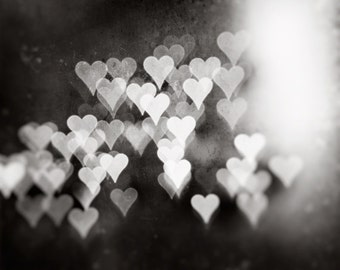 """Black and White Heart Photograph - love bokeh print, dark grey artwork, large gray wall photography, sparkle lights, """"Whispers of the Heart"""""""