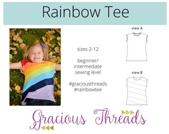 Rainbow Tee pdf sewing pattern sizes 2T-12